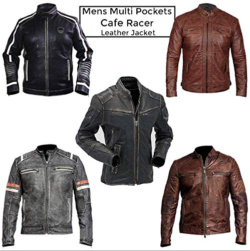III-Fashions Cafe Racer Vintage Distressed Brown Motorcycle Rider Biker Leather Jacket