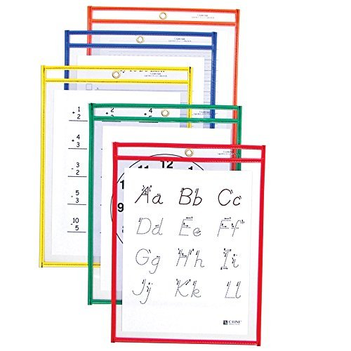 C-Line Reusable Dry Erase Pockets, 9 x 12 Inches, Assorted Primary Colors, 10 Pockets per Pack (40610) by C-Line