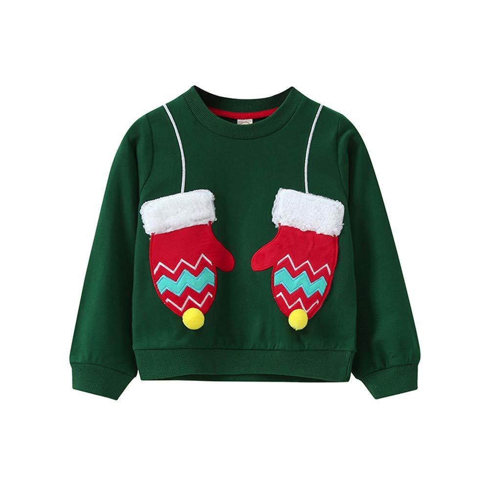 BaZhaHei Sweat-Shirt de Noël Bébé Fille Garçon Col Rond Gant de Sapin de Noël Rudolph Elk Enfants Manches Longues Vêtements de Automne Hiver pour 2-11 Ans