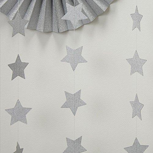 Silvery Star (2-Pack,Silver star Garland, Silvery Christmas galaxy banner, Twinkle Twinkle Little Star garland Christmas garland, Christmas decor, Silver Baby shower(4 inch in Diameter, 13 Feet))