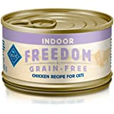 Blue Buffalo Freedom Grain Free Natural Adult Pate Wet Cat Food, Indoor Chicken 3-oz cans