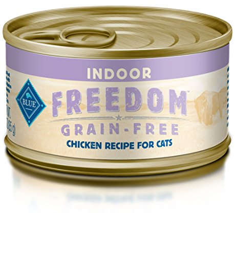 Blue Buffalo Freedom Grain Free Natural Adult Pate Wet Cat Food, Indoor Chicken 3-oz cans, Pack of  24 (The Best Wet Cat Food For Indoor Cats)