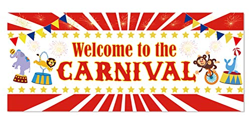 JOLLYSTYLE Carnival Party Backdrop Banner 2019 - Circus Birthday Party Supplies Decorations Carnival Photo Booth Prop Wall Decoration Indoor/Outdoor(70.87 x 27.56 Inch) ()
