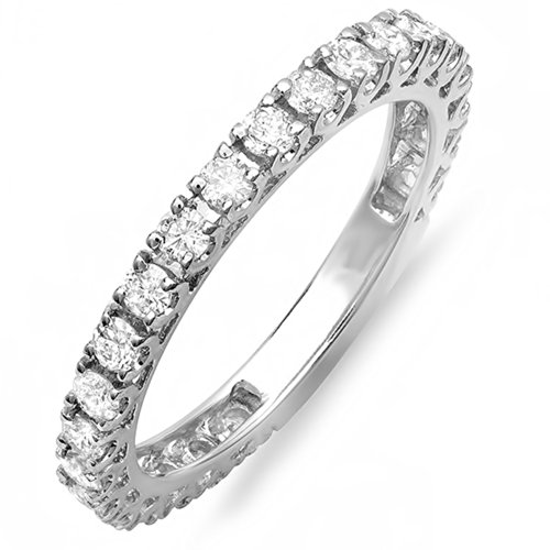 Gold Unique Diamond Eternity Band (0.90 Carat (ctw) 14K White Gold Round White Diamond Eternity Sizeable Wedding Band (Size 7.5))