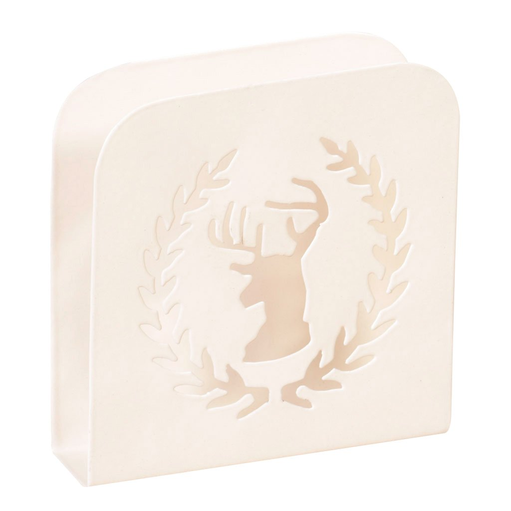 Brushed Stainless Steel Ivory Napkin Holder with Stag and Wreath Cut Out Design Dibor