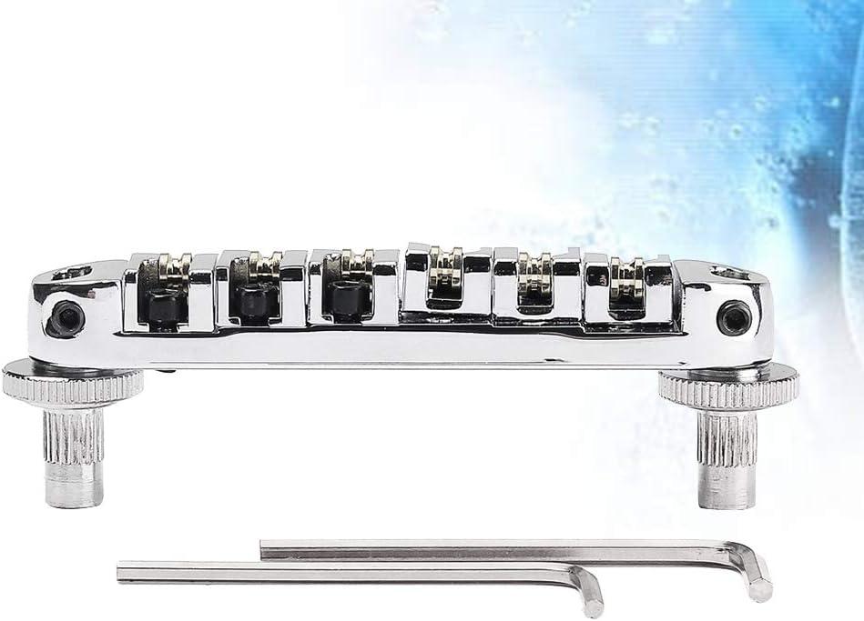 Healifty Guitarra el/éctrica Puente de cola Puente rodante Sill/ín de bloqueo para piezas de repuesto de guitarra el/éctrica Accesorios Plata
