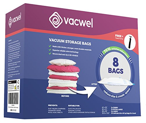 (Vacwel Ziplock Storage Bags Vacuum Space Savers for Clothing Storage, Medium, Large & Jumbo Vacuum Storage Bags (2 of Each) + 2 Non-Vacuum Compression Bags (Total: 8 Bags + 1 Free Travel Pump))
