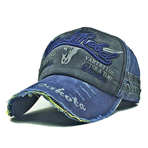 Skyeye Sombrero de Vaquero Roto Retro Viejo Salvaje de la Gorra de Béisbol, Visera de Ribete Hombres y Mujeres Gorra de Béisbol Nueva Azul Marino + Negro