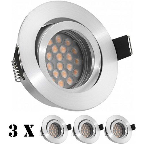 3er LED Einbaustrahler Set Aluminium matt mit LED GU5.3   MR16 Markenstrahler von LEDANDO - 5W - warmweiss - 60° Abstrahlwinkel - schwenkbar - 35W Ersatz - A+ - LED Spot 5 Watt - Einbauleuchte LED rund