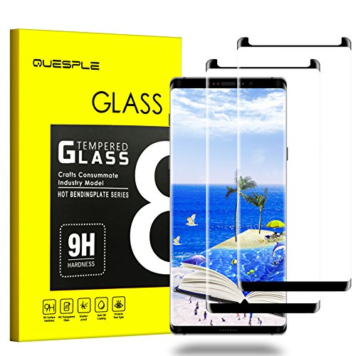QUESPLE Galaxy Note 8 Screen Protector, [2-Pack][Anti Scratch][Anti-Bubble] [Anti-Bubble][3D Curved] [HD Clear] Premium Tempered Glass Screen Protector Compatible Samsung Galaxy Note 8