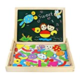 Fajiabao Wooden Educational Toys Magnetic Drawing Board Art Easel Animals Jigsaw Puzzles Dry Erase Double Side Magnetic Board Game Toys Gift for Kids Toddlers, Classic Theme