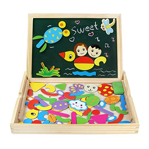 Fajiabao Wooden Magnetic Drawing Board Art Easel Jigsaw Puzzles Montessori Educational Toys Animals Jigsaw Puzzle Dry Erase Double Side Magnetic Board Game Toys Gift for Kids Toddlers, Classic Theme