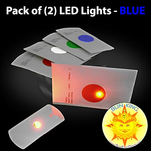 Pack of (2) Flat LED Disc Golf Lights - BLUE + Sun King Sticker