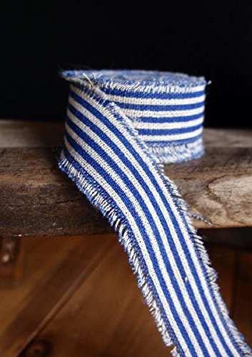 Edge Striped - Harvest Import Inc. 10 Yards of 1 Inch Wide Royal Blue and Off-White Striped Linen Ribbon with Frayed Edge