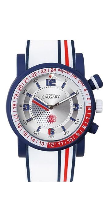 Relojes Calgary Marine Blue, Reloj Deportivo para Mujer, Correa Blanca de Silicona, Esfera Blanca, con lineas roja y Azul: Amazon.es: Zapatos y complementos