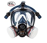 Full Face Organic Vapor Respirator - Safety Mask - 4 Filters Included - Activated Charcoal - for Construction, Cleaning and Industrial Work - Protective Shield from Chemicals, Mold and Dust