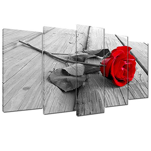 Wallfeeling Arts Red Rose Canvas Print Picture for Living Room Decoration Stretched 5 Panels XLarge Painting Wall Art Picture Print on Grey Canvas- High Definition Modern Home Decor (Red Rose)