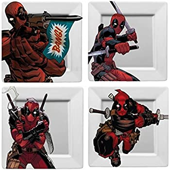 """DEADPOOL Plate Set - Set of 4 Plates, all With Different Deadpool Action Poses on 8"""" x 8"""" Square Plate"""