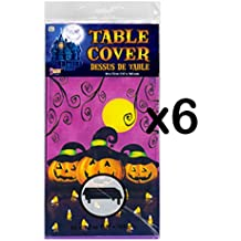 "(LOT OF 6) Pumpkins & Candy Corn Table Cloths 54"" x 72"""