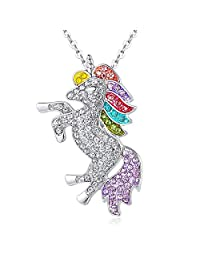 ALoveSoul Silver Tone Little Princess Rainbow Unicorn Pendant Girl Ladies Fashion Necklace Gift for Women