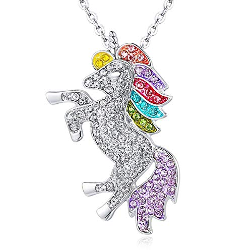 ALoveSoul Silver Tone Little Princess Rainbow Unicorn Pendant Girl Ladies Fashion Necklace Gift for Women -