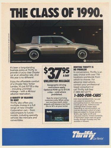 1990 Chrysler New Yorker Landau Thrifty Car Rental The Class Of 1990 Print Ad  Memorabilia   57863