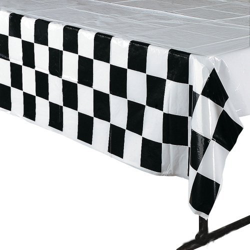 4 pack Black & White Checkered Tablecloth Race Party Supplies Racing Table Cover by Fun Express