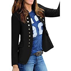 GRAPENT Women's Business Casual Buttons Pockets Open Front Blazer Suit Cardigan Black Size X-Large (US 16-18)
