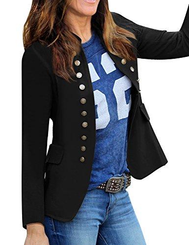 (GRAPENT Women's Business Casual Buttons Pockets Open Front Blazer Suit Cardigan Black Size X-Large (US 16-18))