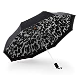 Kobold White Leopard Print Folding Parasol Umbrella Manual Open Double Layer Canopy Light - Windproof Compact Sun/Rain Umbrellas with Teflon Coating