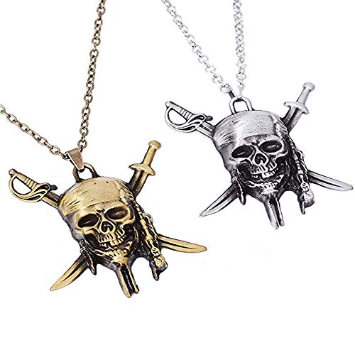 Pack of 2 Cute Pocket Keychain Metal Decor Pirates of the Caribbean Skull Necklace Pendant Charms Gifts for Boy Best Friends/Collections]()
