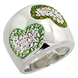 Sterling Silver Heart Peridot Rainbow CZ Cigarband Ring 11/16 inch, size 8