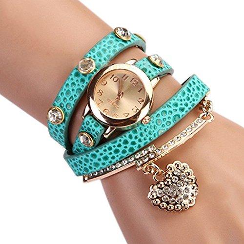 Women's Fashion Rhinstone Faux Leather Wrap Bracelet Quartz Watch with Heart Pendant (Light Blue)