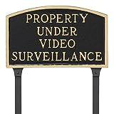 Montague Metal Products 13'' x 21'' Property Under Video Surveillance Statement Plaque & 23'' Stake, Black/Gold
