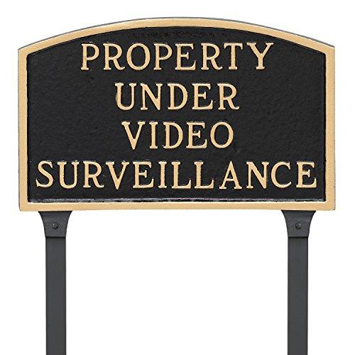 Montague Metal Products 13'' x 21'' Property Under Video Surveillance Statement Plaque & 23'' Stake, Black/Gold by Montague Metal Products