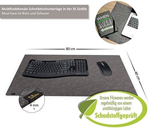 Designer Filz Schreibtischunterlage dunkelgrau in XXL (ca. 40x80cm groß). Originelle Schreibunterlage - besonders weich und komfortabel. Die Alternative zur Papier- oder Leder Schreibtischunterlage