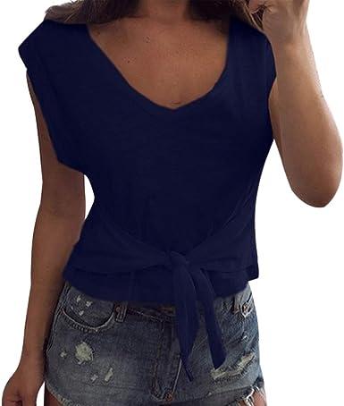 Camisas para Mujeres, Clásico Colores Sólidos Blanco V-Cuello ...