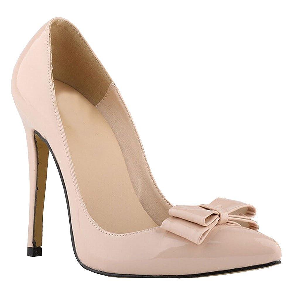 Große Größe 11cm hohen Absatz Spitzschuh Frauenwinter bowtie Partei Pumpen Klassiker spool heels Süßigkeiten Schuhe Pumpe Aprikose