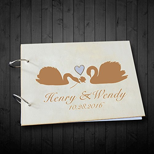 Couples Swans Wedding Guest Book Scrapbook Photo Albums Personalized Name and Date Hold Memory Photo Book Valentines Day Gifts for her