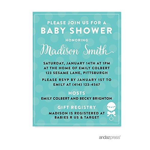 Andaz Press Baby & Co. Baby Shower Collection, Personalized Invitations Custom Made, 20-pack