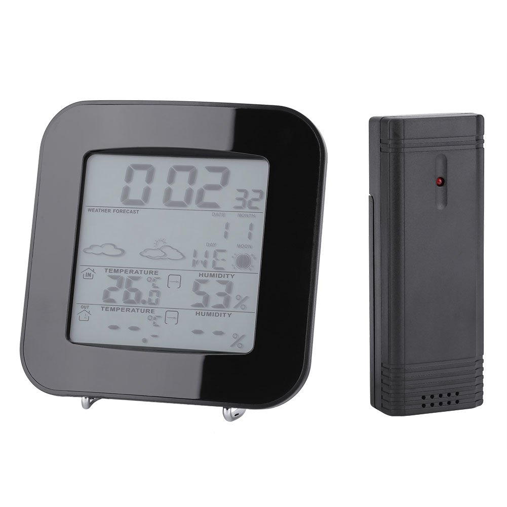 Fdit Weather Station Clock Thermometer Hygrometer alarm Clock Wireless Weather Forecast clock Outdoor Indoor Digital LCD Display