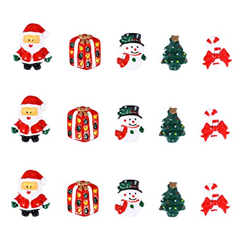 - ULTNICE 15pcs Miniature Christmas Accessories Resin Snowman Santa Claus Christmas Tree Candy Cane