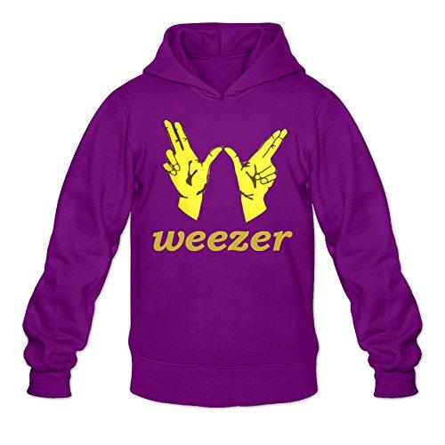 (GOOOET Men's Weezer Victory Logo Hoodies Purple M)