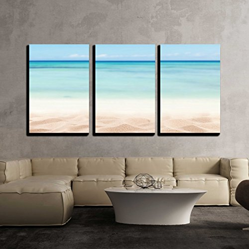 Empty Sandy Beach with Sea Free Space for Text or Product Placement x3 Panels