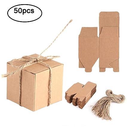 Haofy 50 Piezas Bolsas de Regalo, Cajas de Papel Kraft Cajas ...
