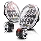 """Best Jkus - TURBOSII 7""""Inch LED Headlights Projection For Jeep Wrangler Review"""