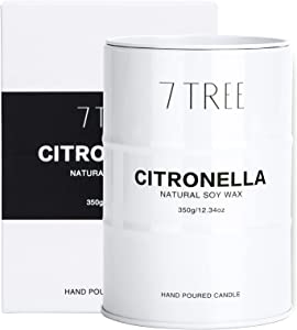 Citronella Candle Outdoor, Garden Citronella Oil Scented Candle, Large Soy Wax Tin Candle for Indoors, Outdoors, Garden,Camping, 60 Hours Long Burning, White