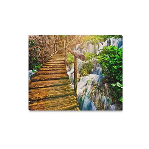 Seasons Beautiful Wooden Bridge On The Nature Waterfall Canvas Print Wall Art - Home Decor Corridor Bedroom and Living Room Decorations Modern Canvas Wall Art - Ready to Hang - Size 20''x16'' by WECE