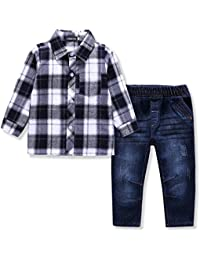 US Kids Clothing Boys Casual Short Sleeved Plaid Shirt and Denim Jeans Sets
