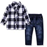 Image of Ferenyi US Kids Clothing Boys Casual Short Sleeved Plaid Shirt and Denim Jeans Sets (4-5 years, White)